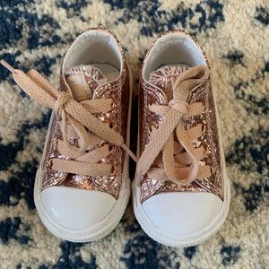 Rose gold sparkly converse
